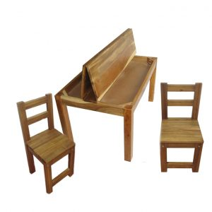 Hardwood Study Desk and Chairs