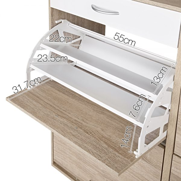 Wooden Shoe Cabinet with Storage Shelves