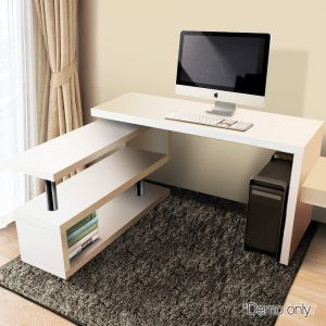 Rotatable Corner Desk with Bookshelf