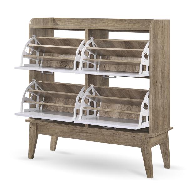Oak Large Shoe Cabinet Rack
