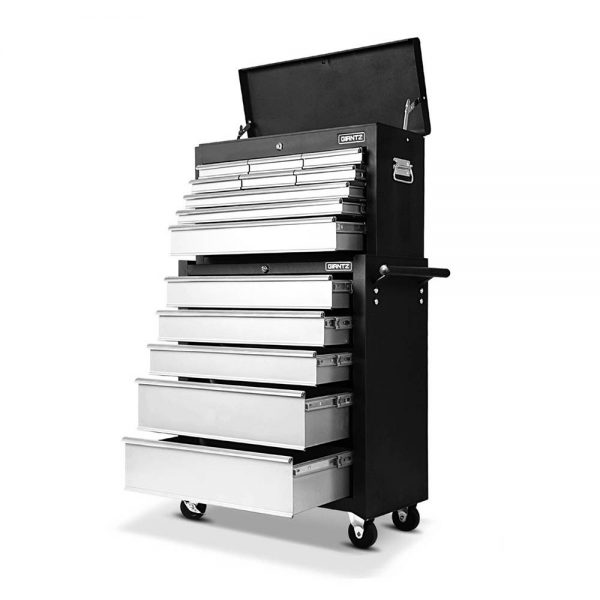 Black & silver Heavy Duty 14 Drawer Toolbox