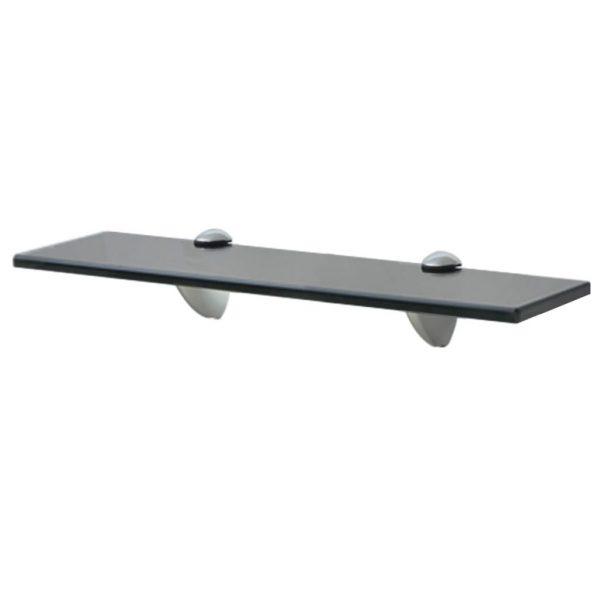 Black Glass Floating Wall Shelf - 40cm x10cm