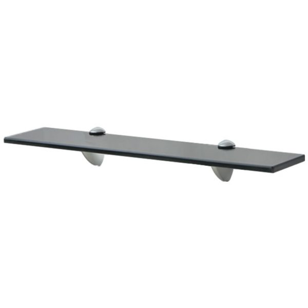 Black Glass Floating Wall Shelf - 50cm x10cm