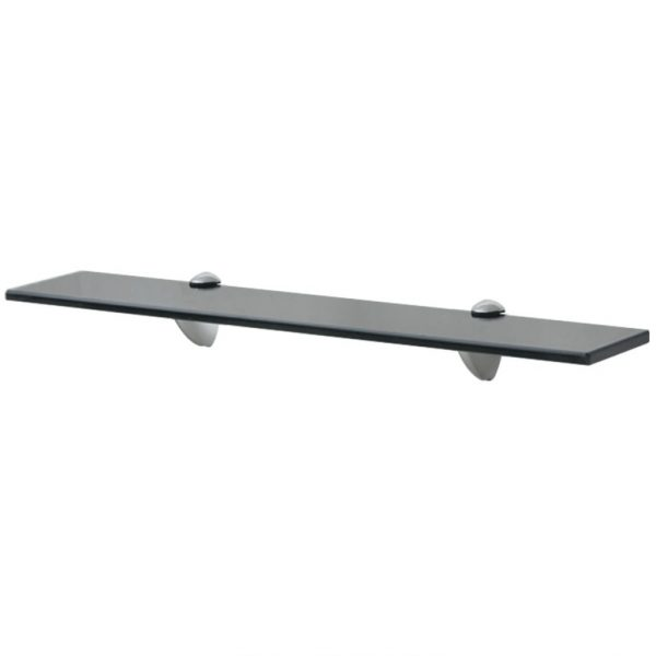 Black Glass Floating Wall Shelf - 60cm x10cm