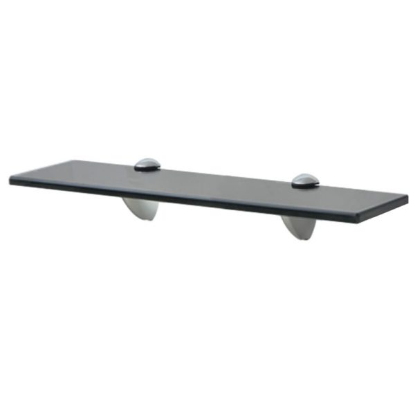 Black Glass Floating Wall Shelf - 40cm x 20cm
