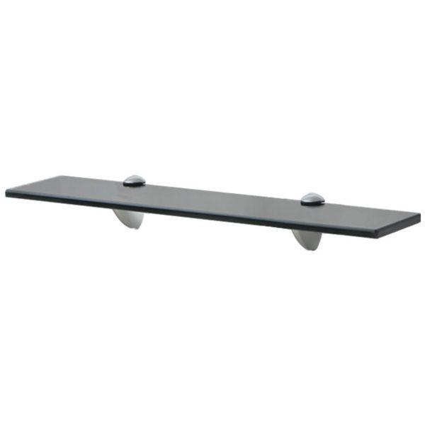 Black Glass Floating Wall Shelf - 50cm x 20cm