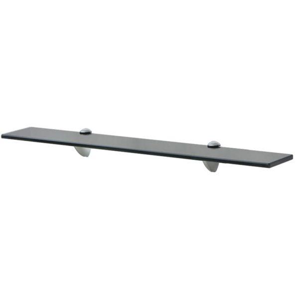 Black Glass Floating Wall Shelf - 70cm x 20cm