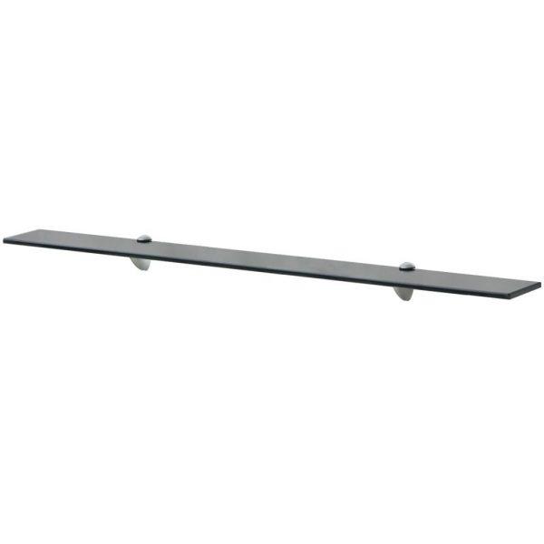Black Glass Floating Wall Shelf - 100cm x 20cm