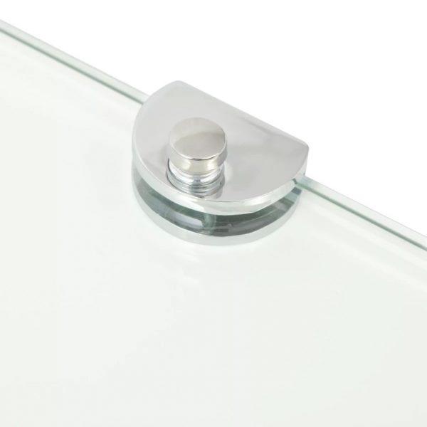 Clear Glass Corner Wall Shelf – 35cm x 35cm