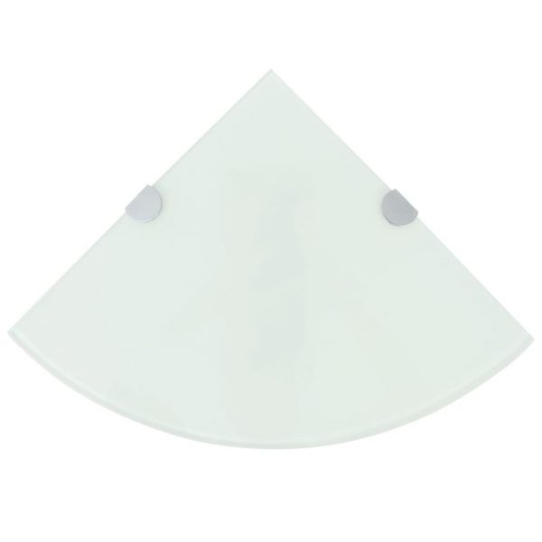 White Glass Corner Wall Shelf - 35cm x 35cm