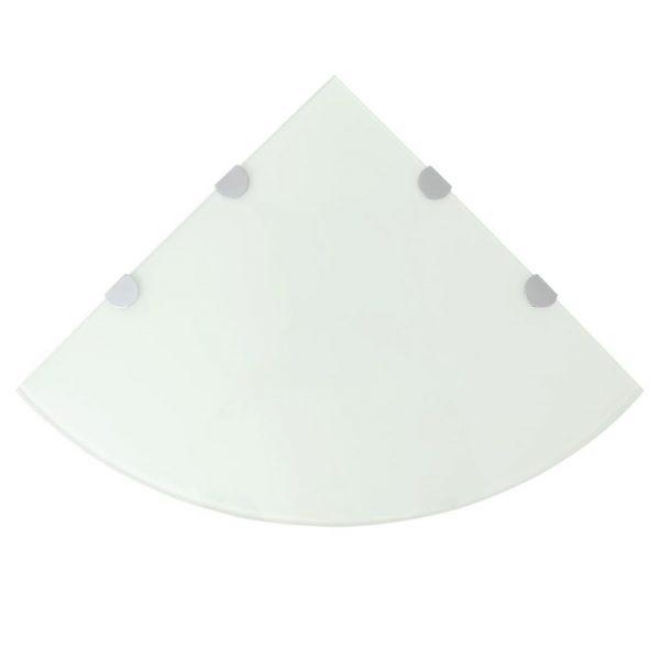 White Glass Corner Wall Shelf - 45cm x 45cm