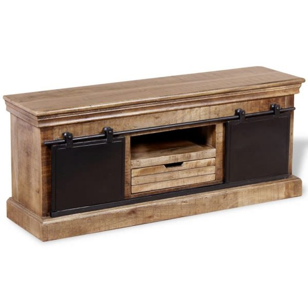 TV Cabinet with 2 Sliding Doors Solid Mango Wood