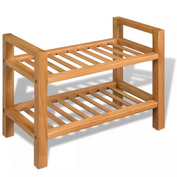 2-Shelf Shoe Rack - Solid Oak