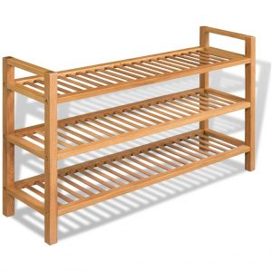 Solid Oak 3 Shelf Shoe Rack