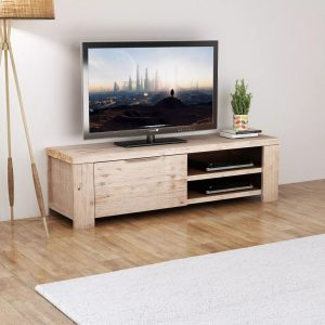 TV Cabinet - Solid Brushed Acacia Wood