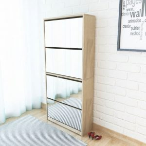 4-Layer Mirrored Shoe Cabinet - Oak