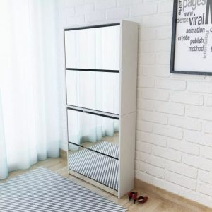 4-Layer Mirrored Shoe Cabinet - White