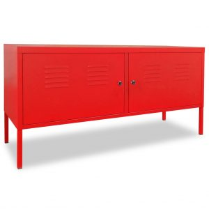 Industrial-Style TV Cabinet - Red