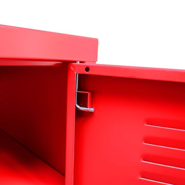 Industrial-Style TV Cabinet – Red