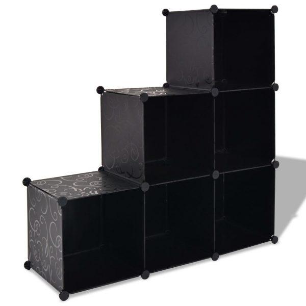 6 Compartment Storage Cube - Black