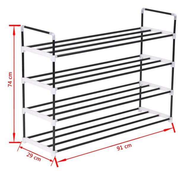 4 Shelf Shoe Rack – Black