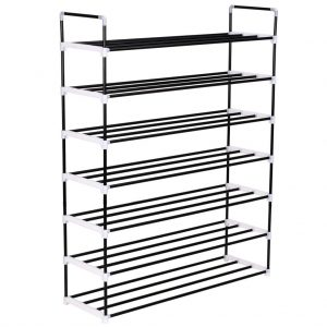 vidaXL Shoe Rack with 7 Shelves Metal and Plastic Black