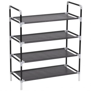 vidaXL Shoe Rack with 4 Shelves Metal and Non-woven Fabric Black