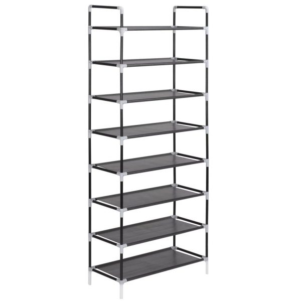 8 Shelf Fabric Shoe Rack - Black