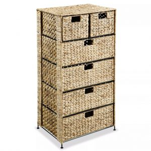 vidaXL Storage Unit with 6 Baskets 47x37x100 cm Water Hyacinth