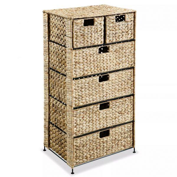 vidaXL Storage Unit with 6 Baskets 47x37x100 cm Water Hyacinth