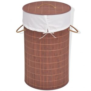 Round Laundry Bin - Brown