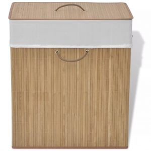 Small Rectangular Bamboo Laundry Bin - Natural