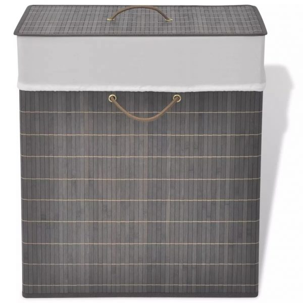 Small Rectangular Bamboo Laundry Bin - Dark Brown