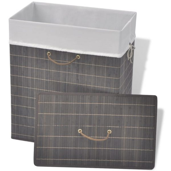 Small Rectangular Bamboo Laundry Bin – Dark Brown