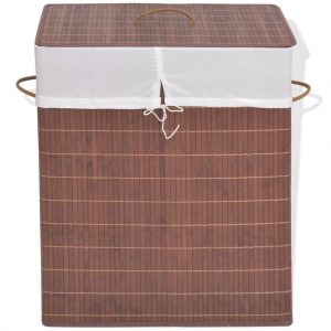 Small Rectangular Bamboo Laundry Bin - Brown