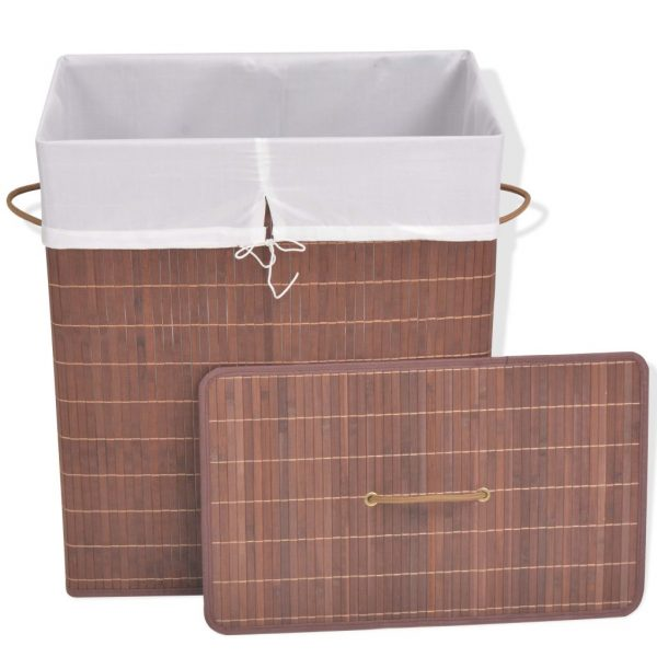 Small Rectangular Bamboo Laundry Bin – Brown