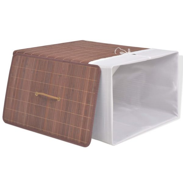 Small Rectangular Bamboo Laundry Bin – Brown