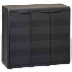 Garden Storage Cabinet with 2 Shelves - Black
