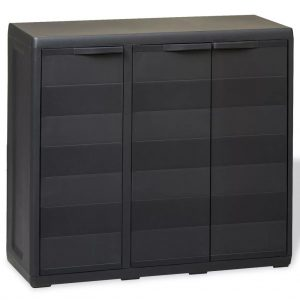 Garden Storage Cabinet with 2 Shelves - Black