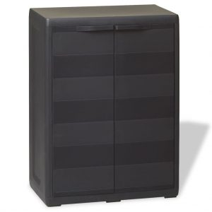 vidaXL Garden Storage Cabinet with 1 Shelf Black