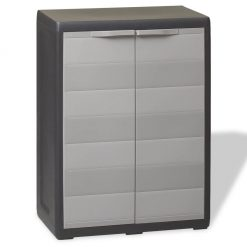 Garden Storage Cabinet with 1 Shelf - Black and Grey