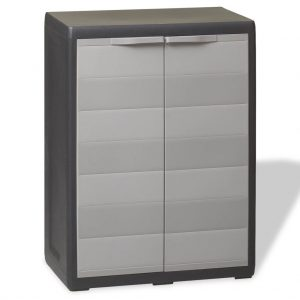 Garden Storage Cabinet with 1 Shelf - Black and Grey