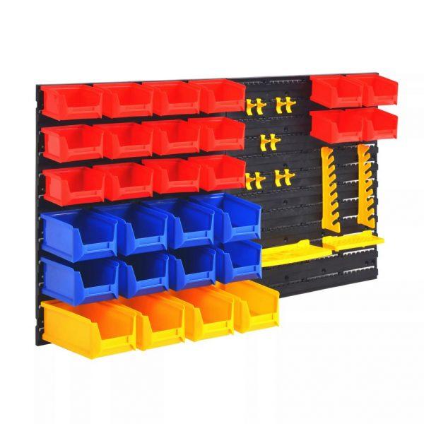 Wall Mounted Plastic Storage Organiser Set