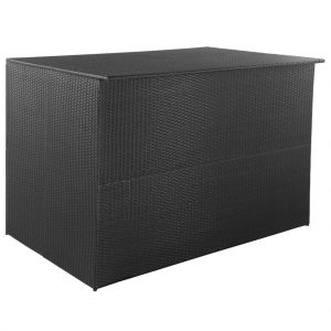 vidaXL Outdoor Storage Box Poly Rattan 150x100x100 cm Black