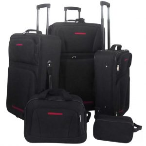 5 Piece Travel Luggage Set (Black)