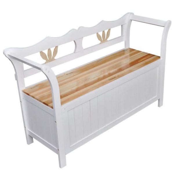 Wooden Storage Bench - White