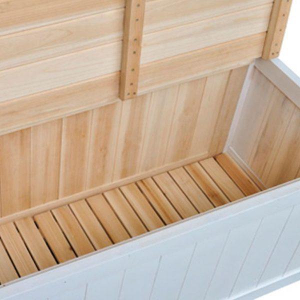 Wooden Storage Bench – White