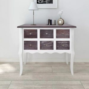 6 Drawer Console Cabinet Table