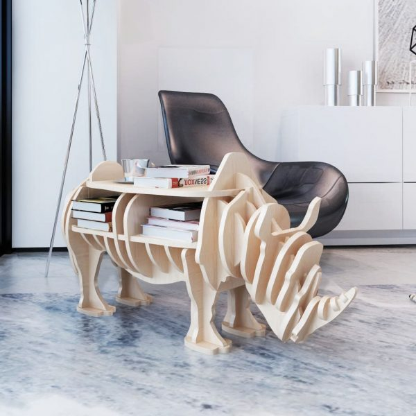 Wooden Rhino Side Table