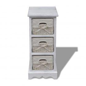 vidaXL Wooden Storage Rack 3 Weaving Baskets White